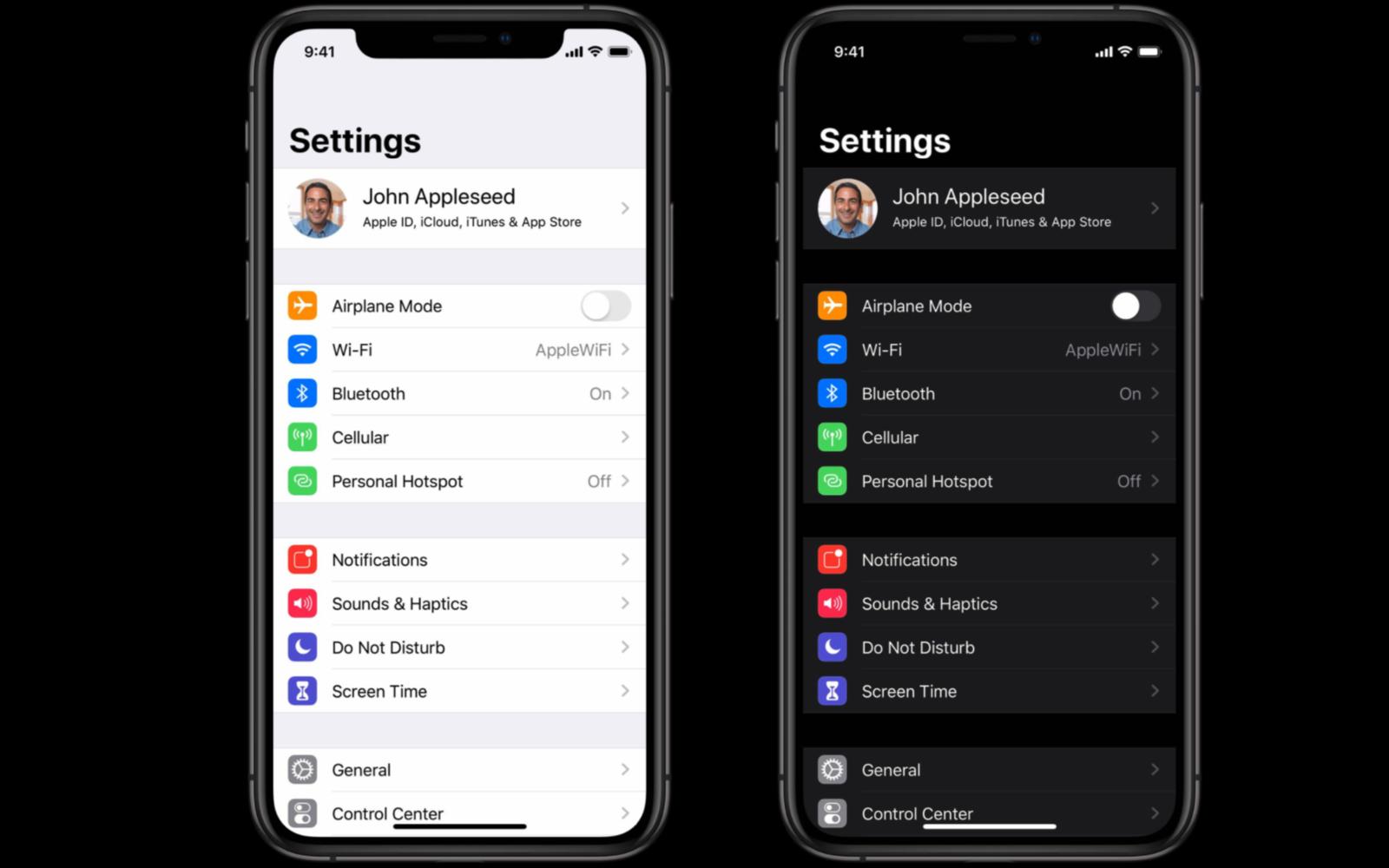 Dark mode settings app iOS