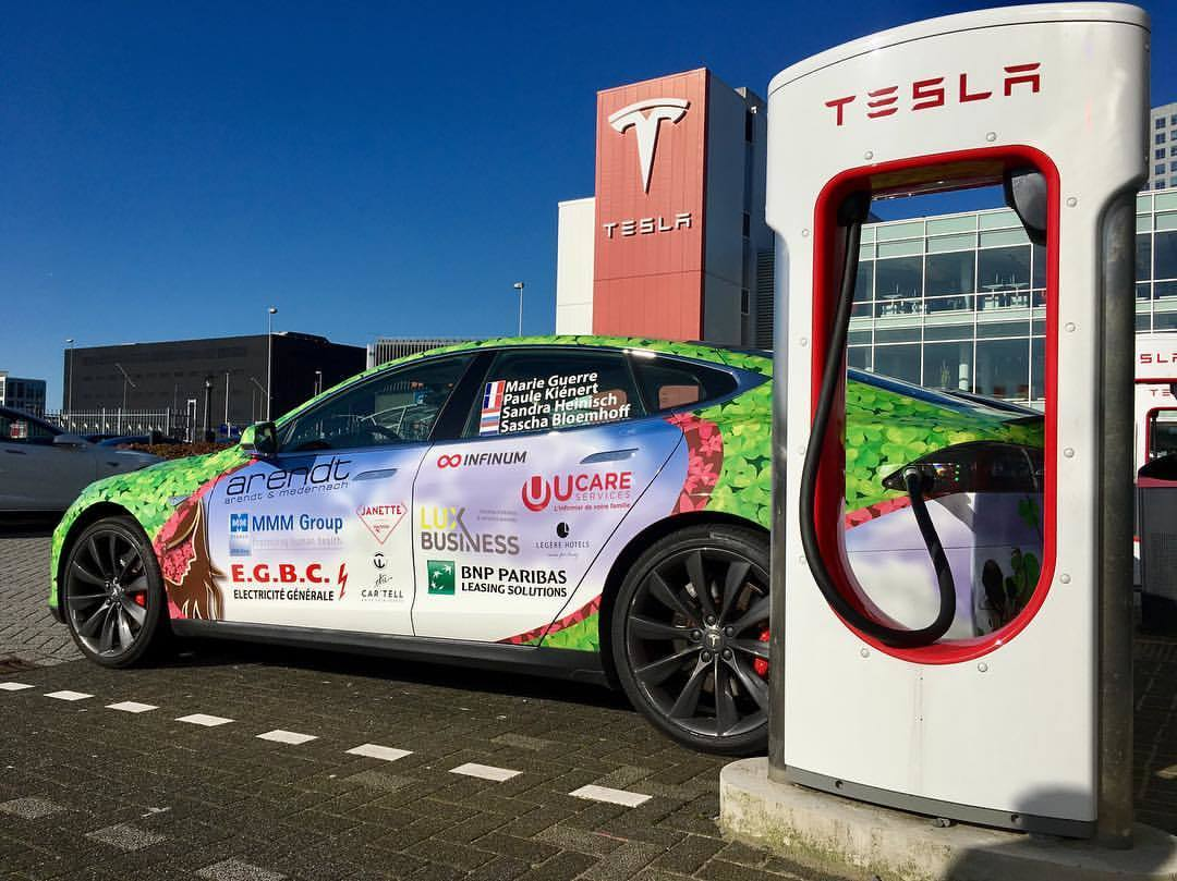 Tesla Model S and a supercharger
