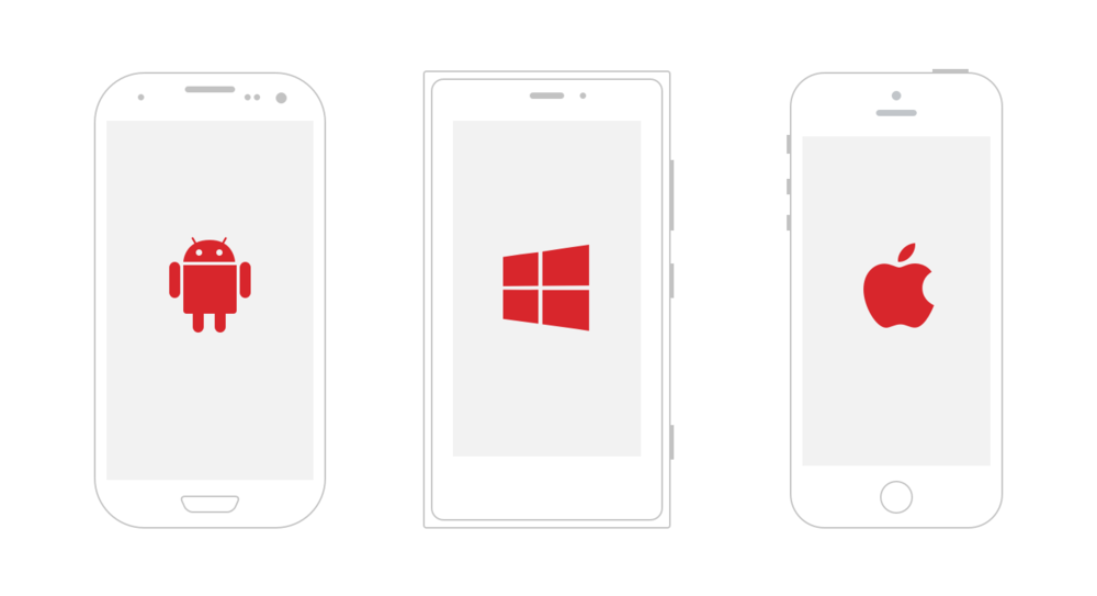 iOS, Android and Windows phone mockups
