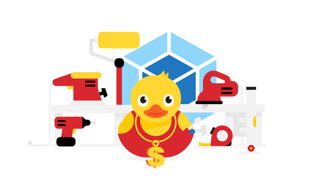 A rubber duck usign all the JavaScript tools