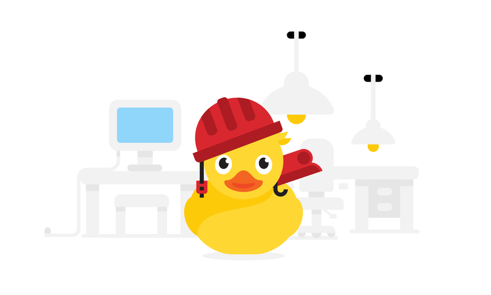 A rubber duck using frameworks
