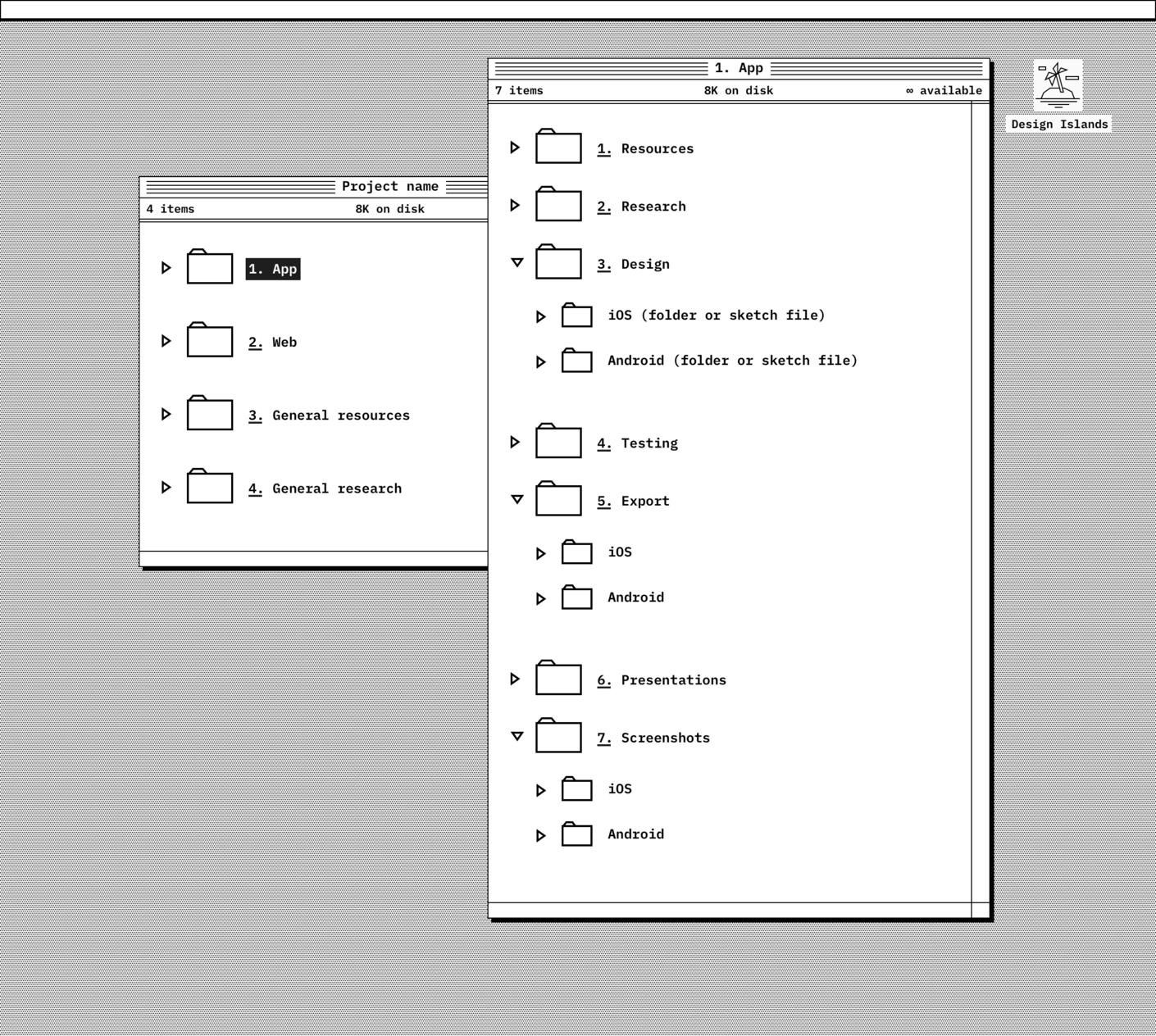 Mobile app folder details